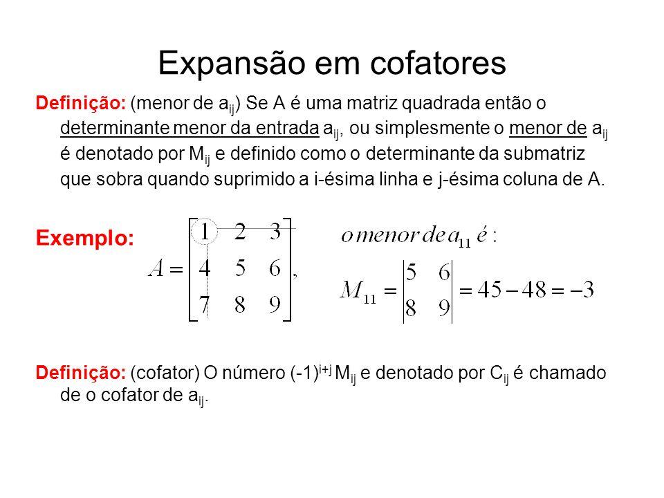 Expansão em cofatores Exemplo: