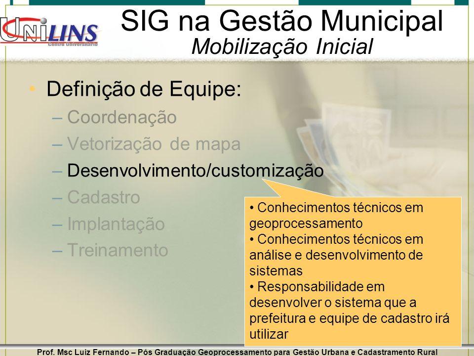 SIG na Gestão Municipal Mobilização Inicial