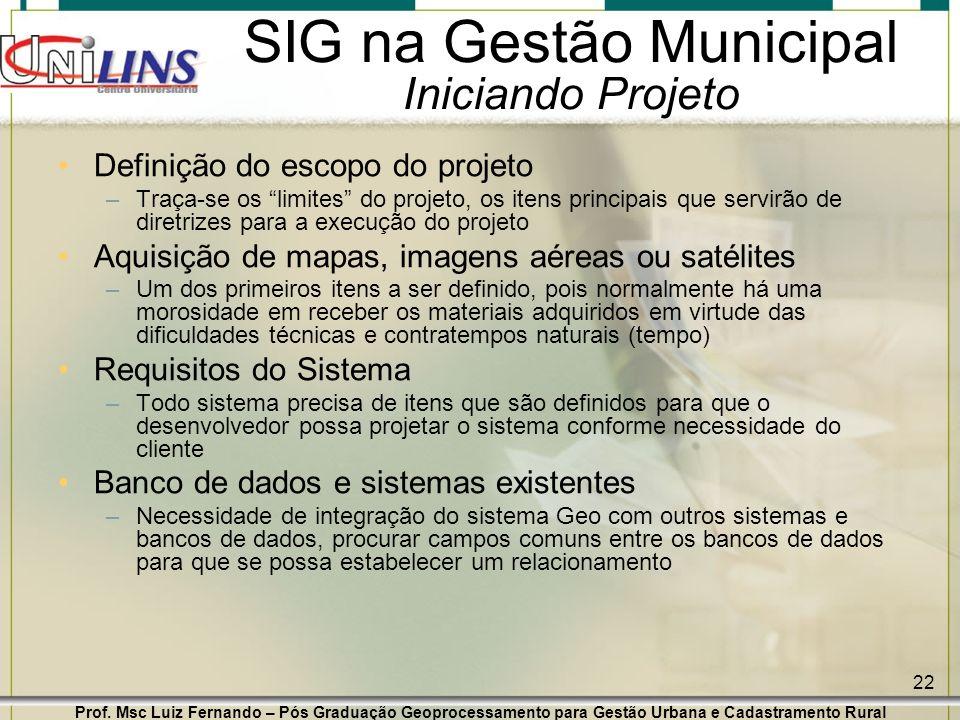 SIG na Gestão Municipal Iniciando Projeto