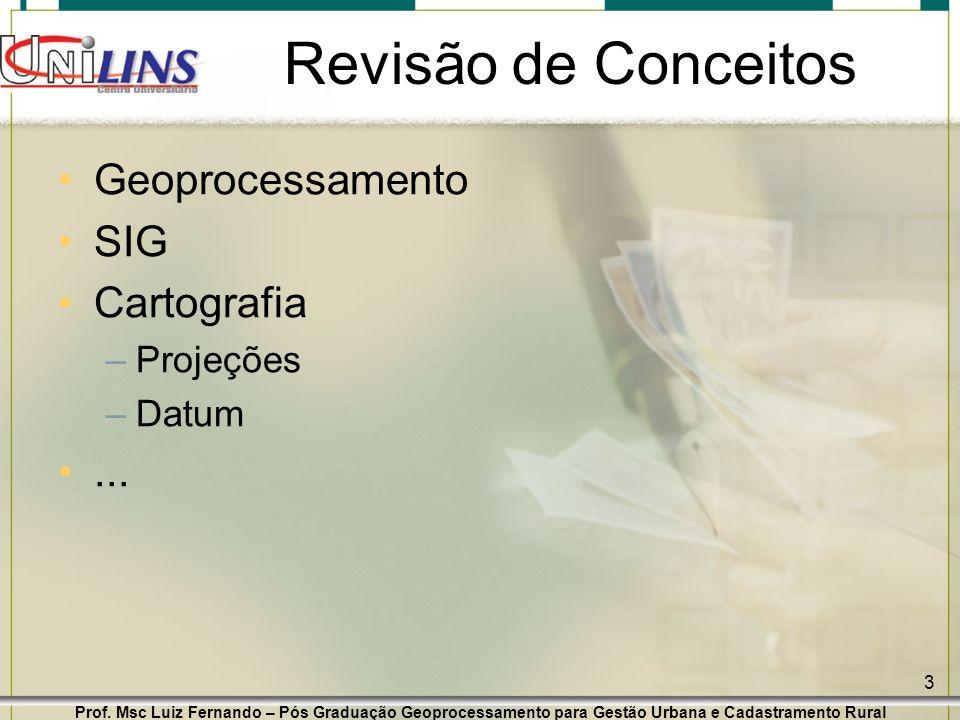 Revisão de Conceitos Geoprocessamento SIG Cartografia ... Projeções