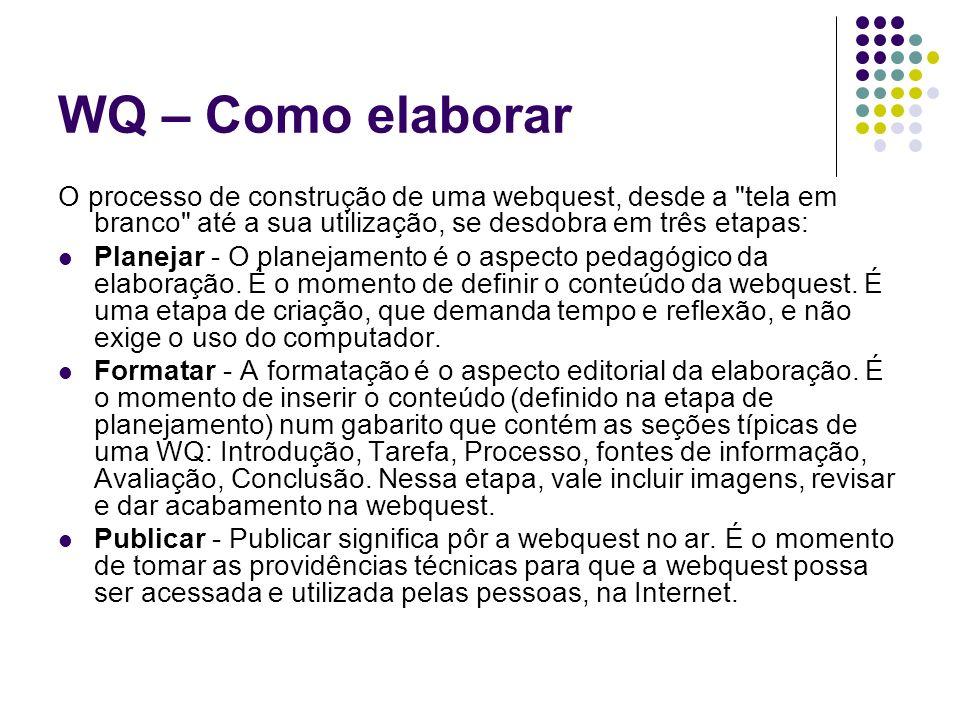 WQ – Como elaborar O processo de construção de uma webquest, desde a tela em branco até a sua utilização, se desdobra em três etapas: