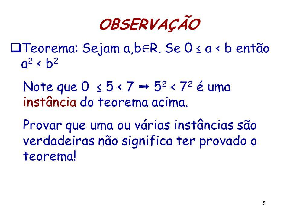 OBSERVAÇÃO Teorema: Sejam a,b∈R. Se 0 ≤ a < b então a2 < b2