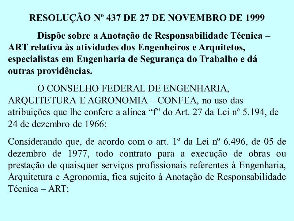 RESOLUÇÃO Nº 437 DE 27 DE NOVEMBRO DE 1999