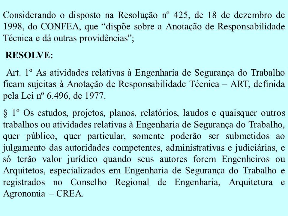 Considerando o disposto na Resolução nº 425, de 18 de dezembro de 1998, do CONFEA, que dispõe sobre a Anotação de Responsabilidade Técnica e dá outras providências ;