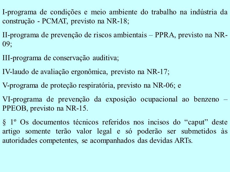 I-programa de condições e meio ambiente do trabalho na indústria da construção - PCMAT, previsto na NR-18;
