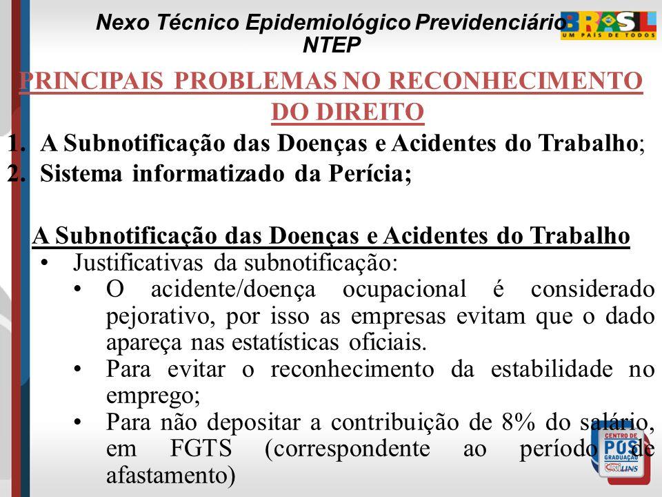 PRINCIPAIS PROBLEMAS NO RECONHECIMENTO DO DIREITO