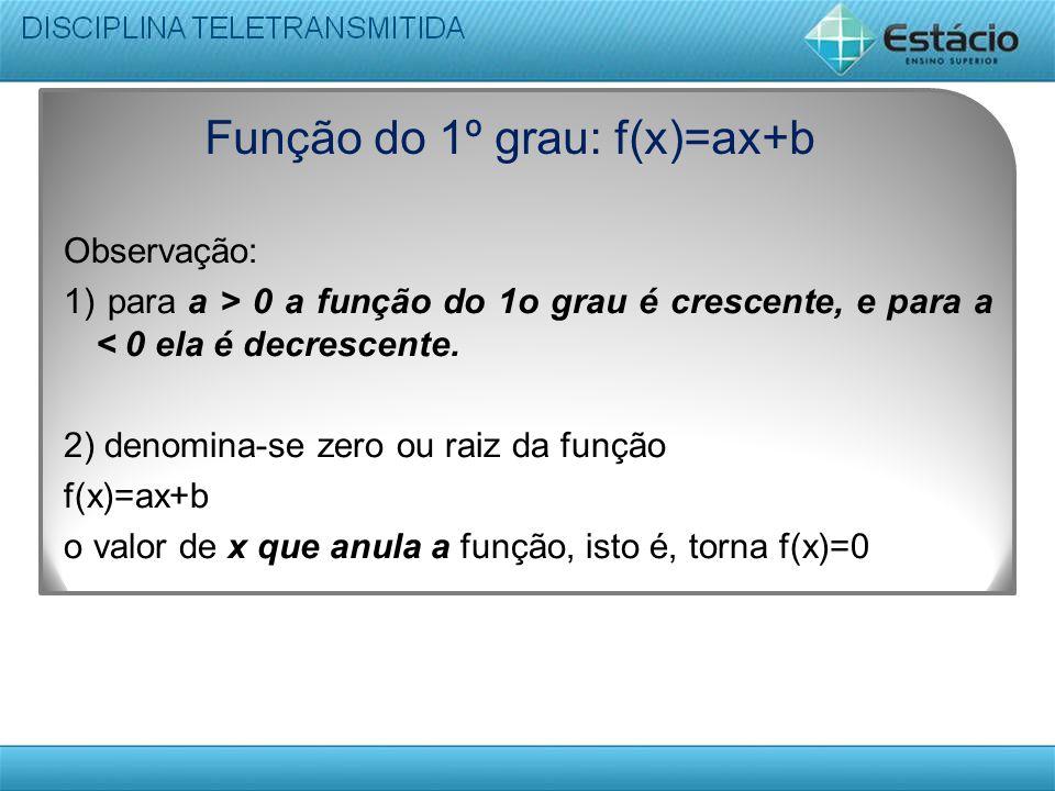 Função do 1º grau: f(x)=ax+b