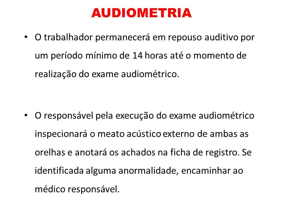 AUDIOMETRIAO trabalhador permanecerá em repouso auditivo por um período mínimo de 14 horas até o momento de realização do exame audiométrico.