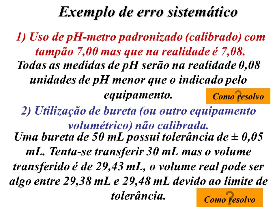 Exemplo de erro sistemático