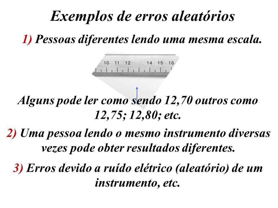 Exemplos de erros aleatórios