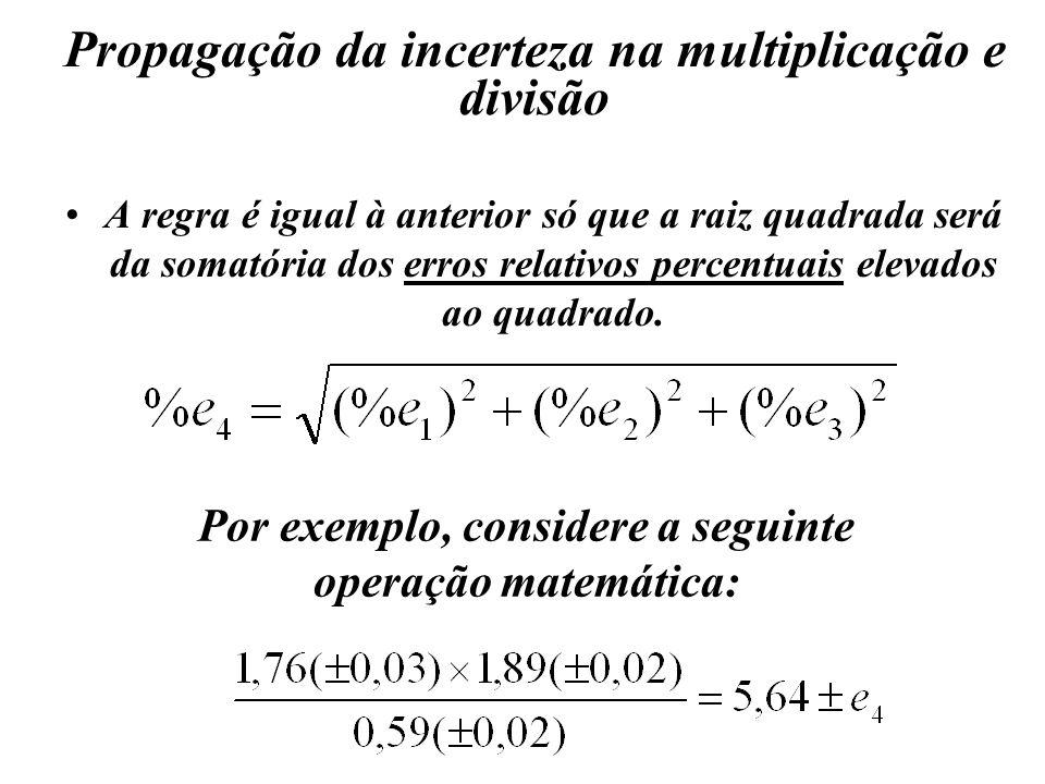 Propagação da incerteza na multiplicação e divisão