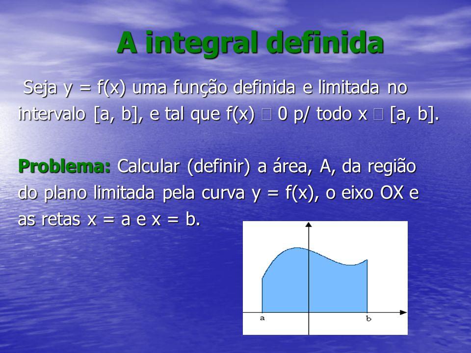 A integral definida Seja y = f(x) uma função definida e limitada no