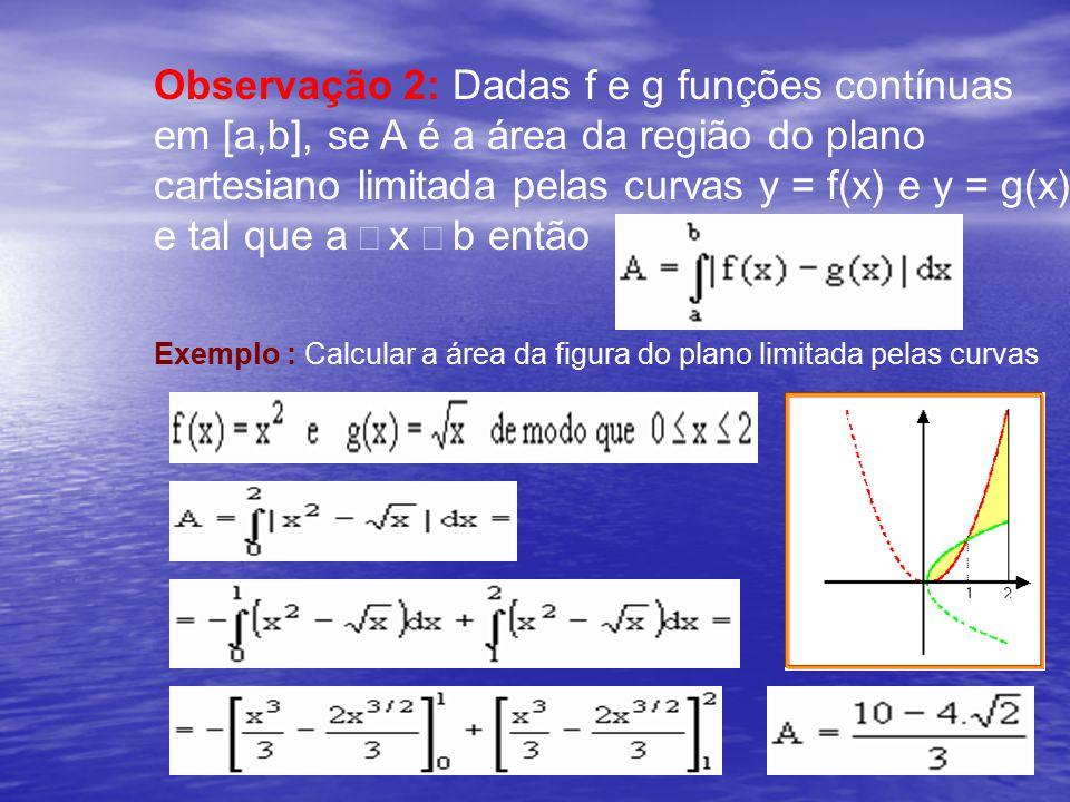 Observação 2: Dadas f e g funções contínuas