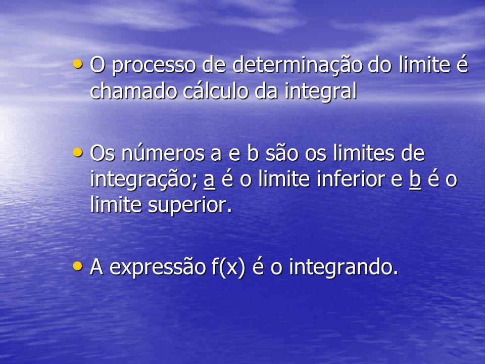 O processo de determinação do limite é chamado cálculo da integral