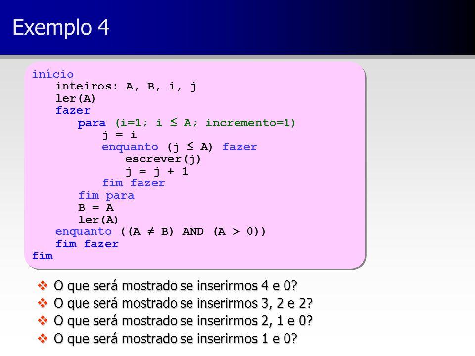 Exemplo 4 O que será mostrado se inserirmos 4 e 0