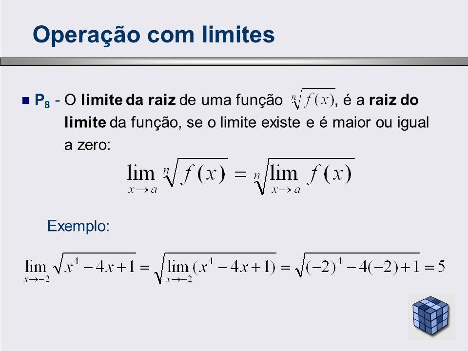 Operação com limites P8 - O limite da raiz de uma função , é a raiz do