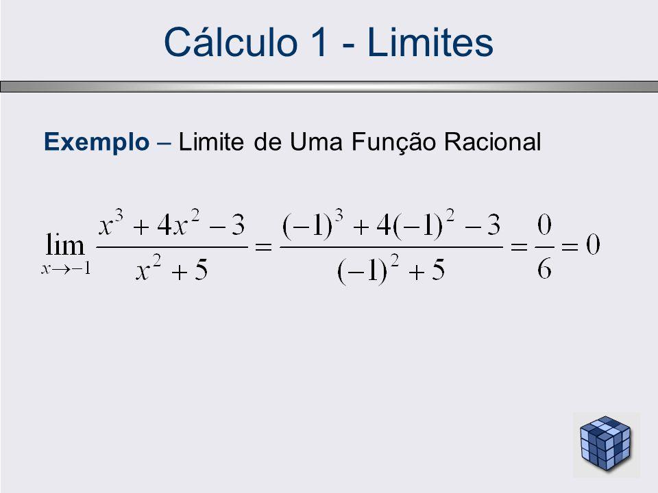 Cálculo 1 - Limites Exemplo – Limite de Uma Função Racional