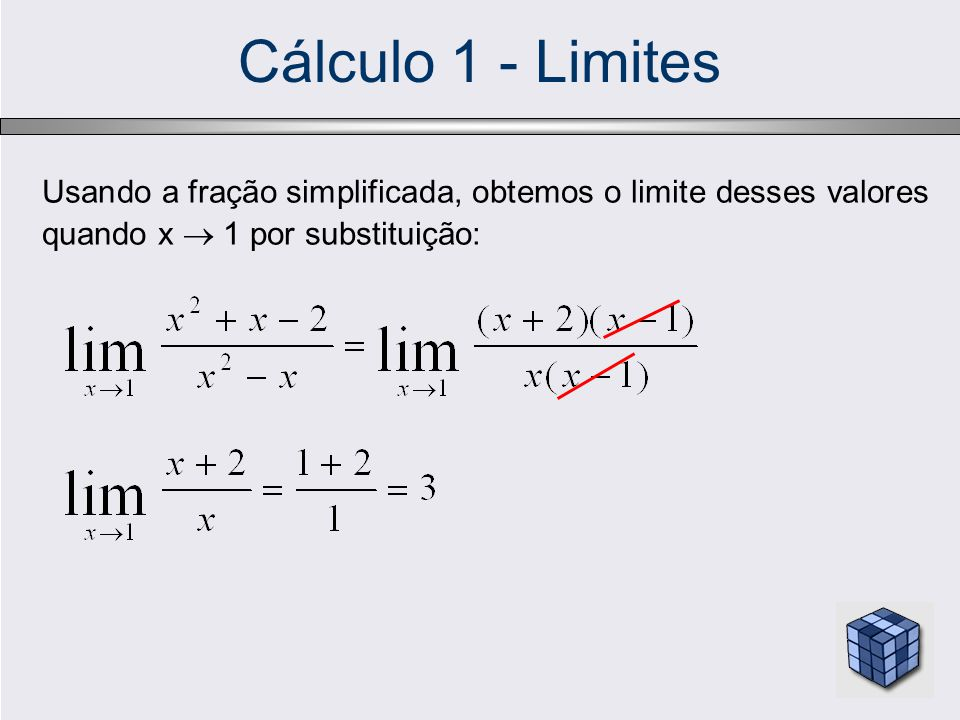 Cálculo 1 - Limites Usando a fração simplificada, obtemos o limite desses valores quando x  1 por substituição: