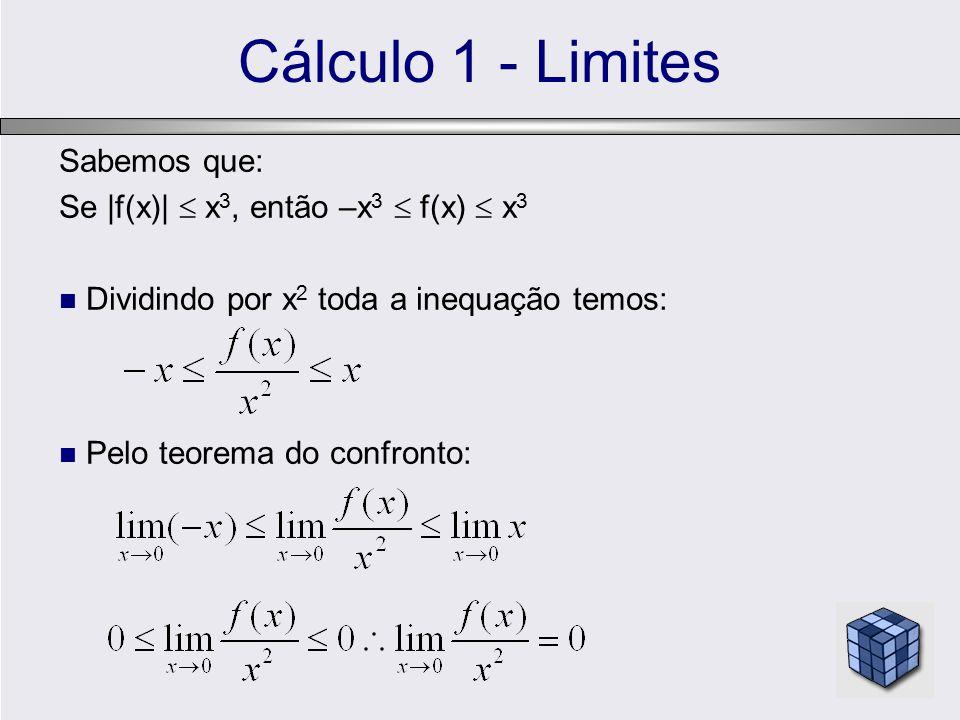 Cálculo 1 - Limites Sabemos que: Se |f(x)|  x3, então –x3  f(x)  x3