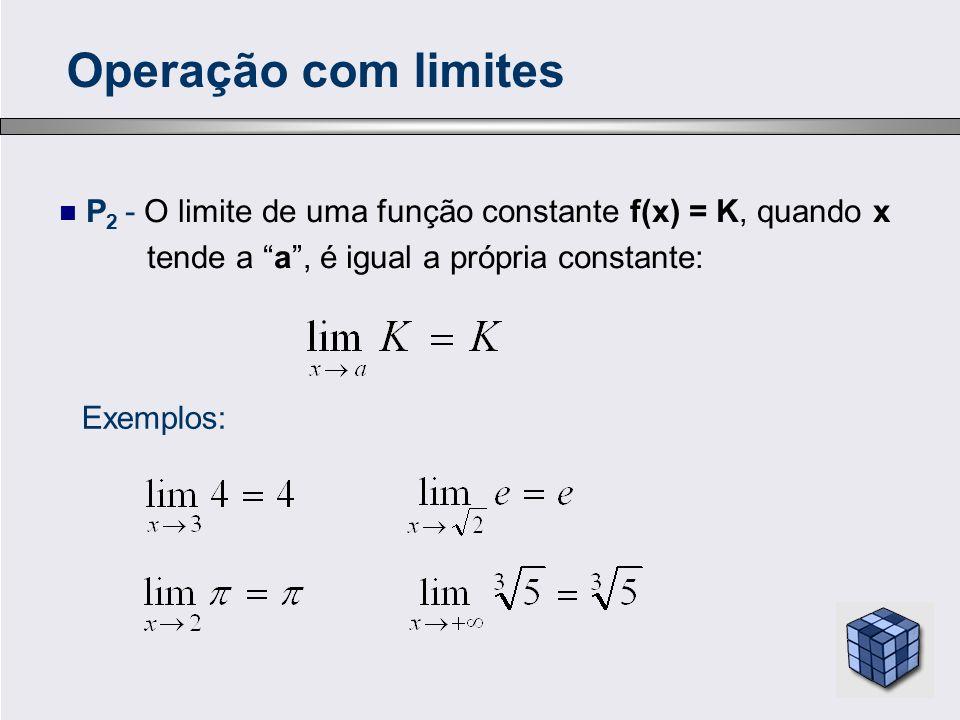 Operação com limites P2 - O limite de uma função constante f(x) = K, quando x. tende a a , é igual a própria constante: