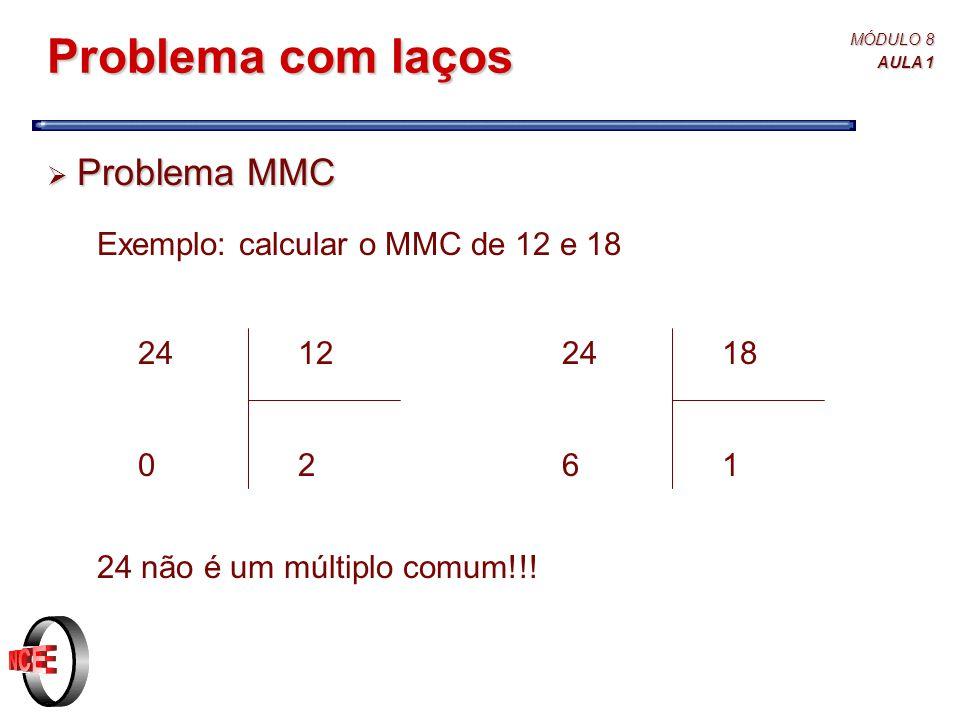 Problema com laços Problema MMC Exemplo: calcular o MMC de 12 e 18