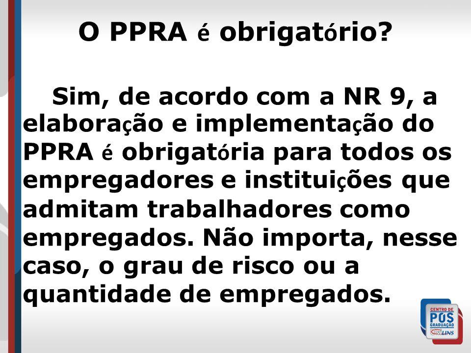 O PPRA é obrigatório