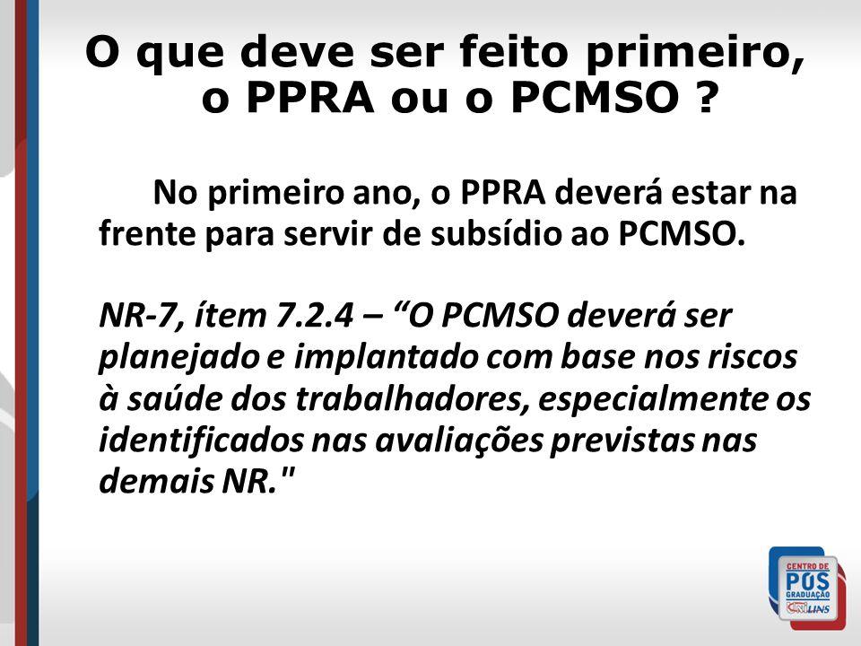O que deve ser feito primeiro, o PPRA ou o PCMSO