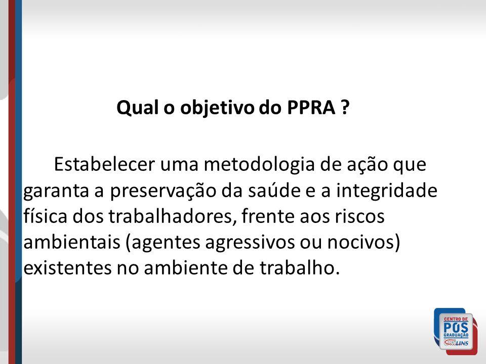 Qual o objetivo do PPRA