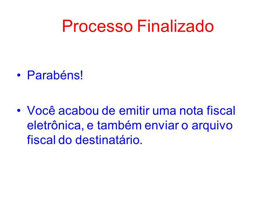 Processo Finalizado Parabéns!
