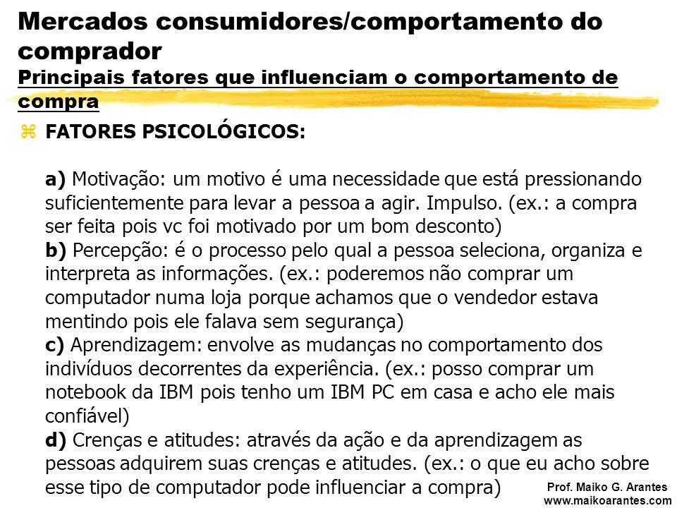 Mercados consumidores/comportamento do comprador Principais fatores que influenciam o comportamento de compra
