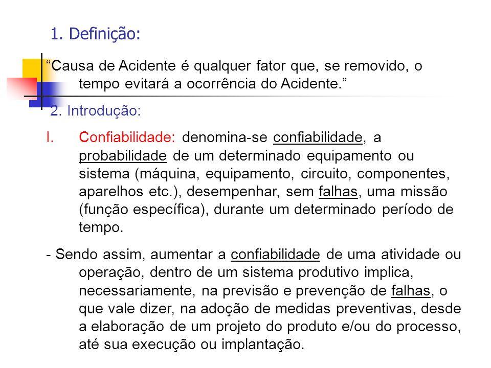 1. Definição: Causa de Acidente é qualquer fator que, se removido, o tempo evitará a ocorrência do Acidente.