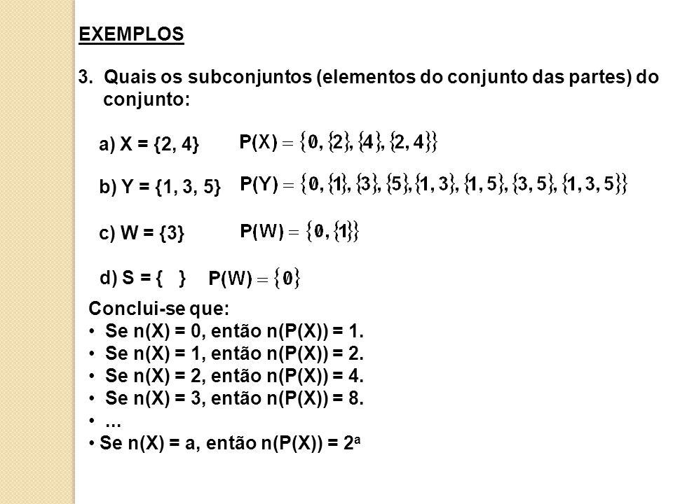 EXEMPLOS 3. Quais os subconjuntos (elementos do conjunto das partes) do conjunto: a) X = {2, 4} b) Y = {1, 3, 5}
