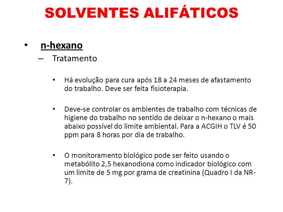 SOLVENTES ALIFÁTICOS n-hexano Tratamento
