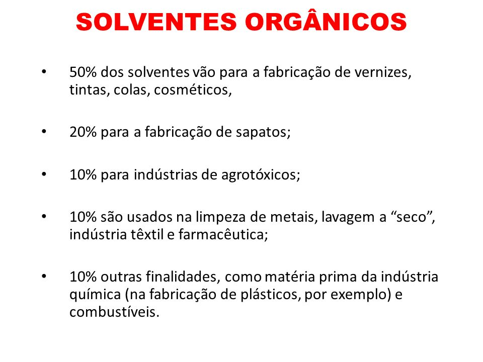 SOLVENTES ORGÂNICOS50% dos solventes vão para a fabricação de vernizes, tintas, colas, cosméticos, 20% para a fabricação de sapatos;