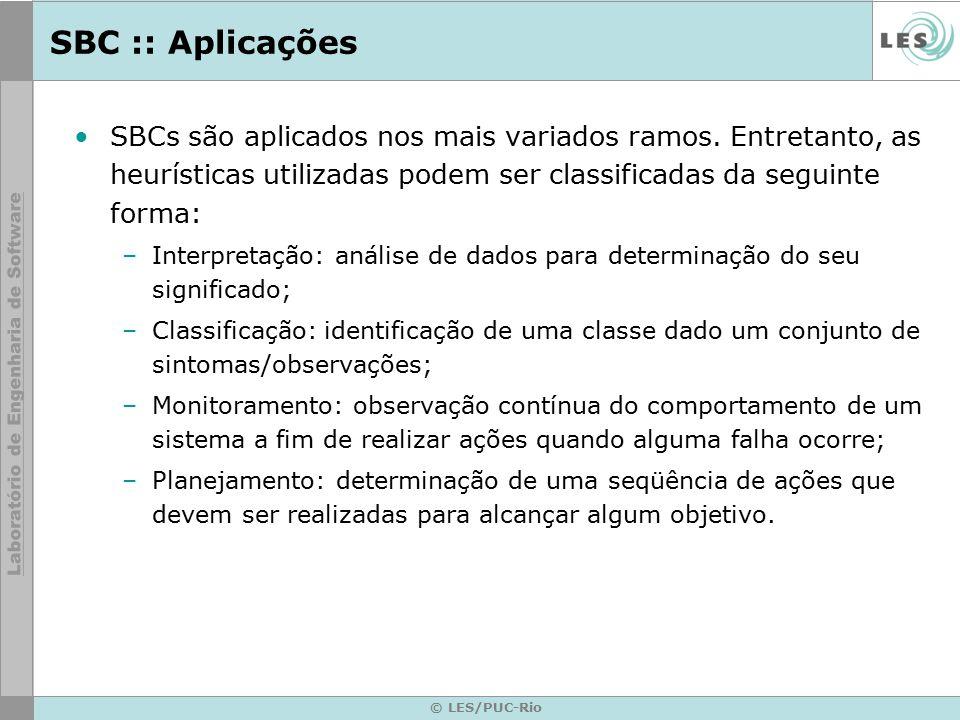 SBC :: Aplicações SBCs são aplicados nos mais variados ramos. Entretanto, as heurísticas utilizadas podem ser classificadas da seguinte forma: