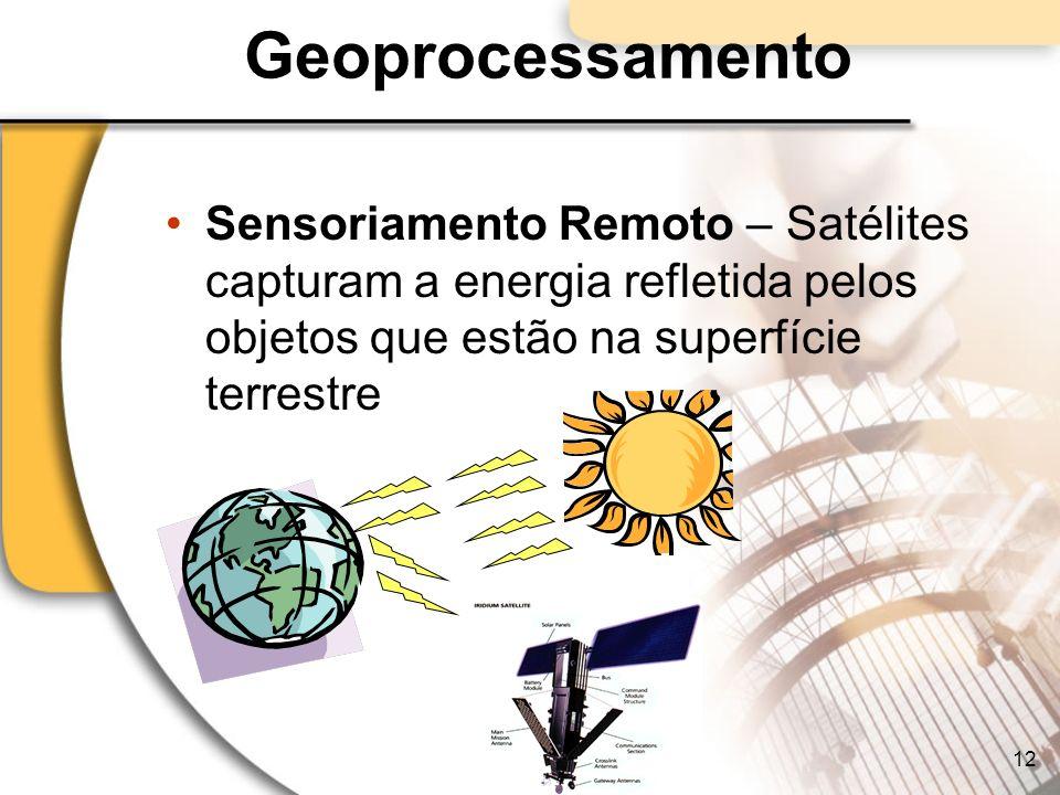Geoprocessamento Sensoriamento Remoto – Satélites capturam a energia refletida pelos objetos que estão na superfície terrestre.