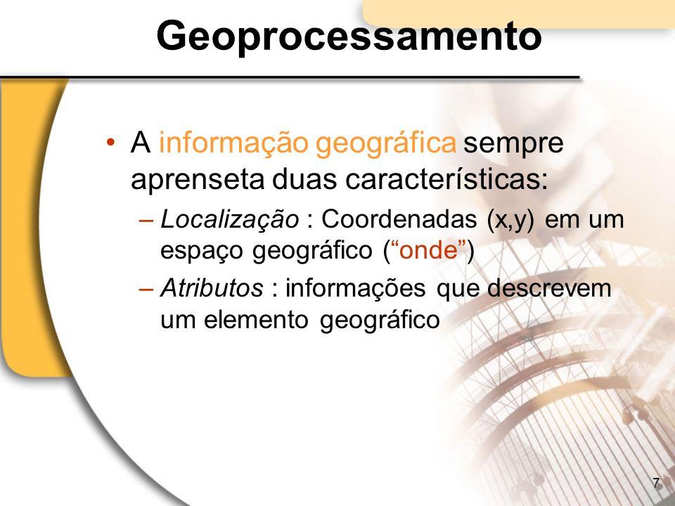 Geoprocessamento A informação geográfica sempre aprenseta duas características: Localização : Coordenadas (x,y) em um espaço geográfico ( onde )