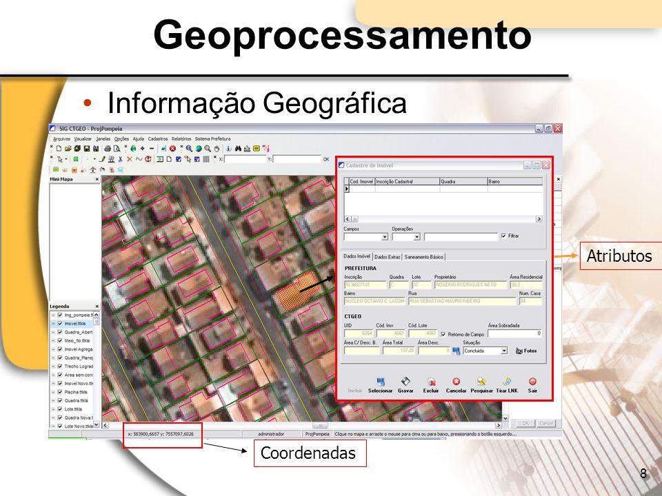 Geoprocessamento Informação Geográfica Atributos Coordenadas