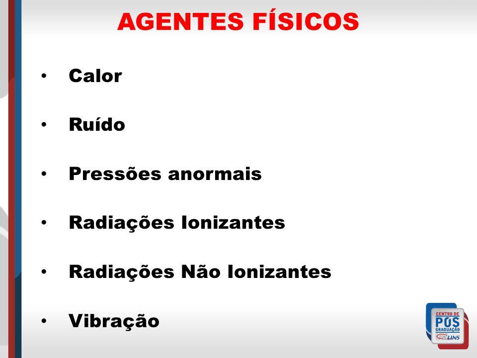 AGENTES FÍSICOS Calor Ruído Pressões anormais Radiações Ionizantes