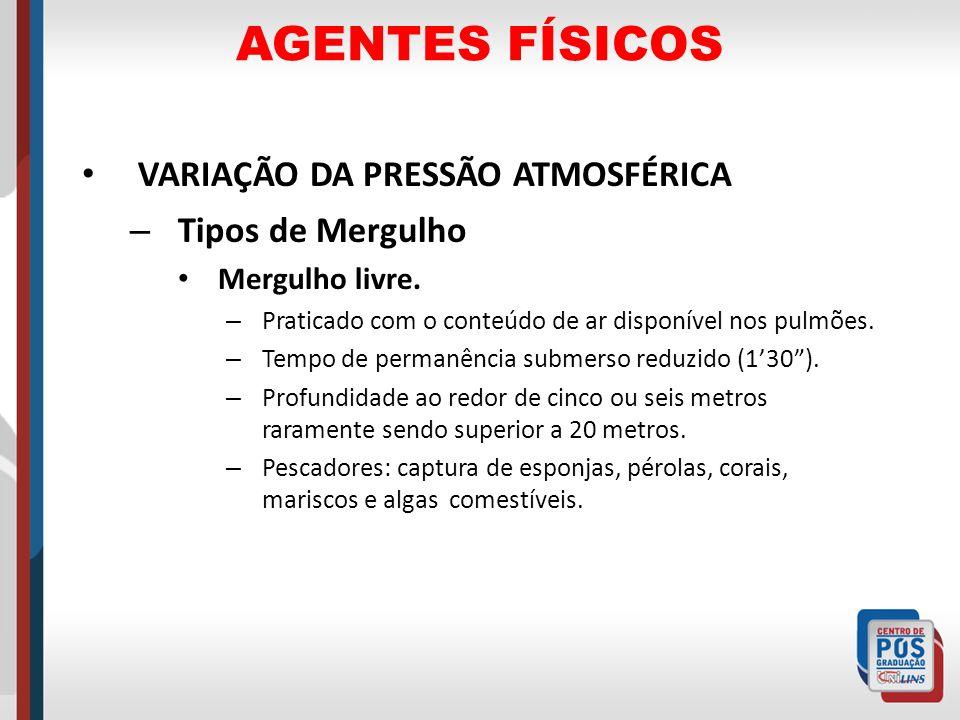AGENTES FÍSICOS VARIAÇÃO DA PRESSÃO ATMOSFÉRICA Tipos de Mergulho