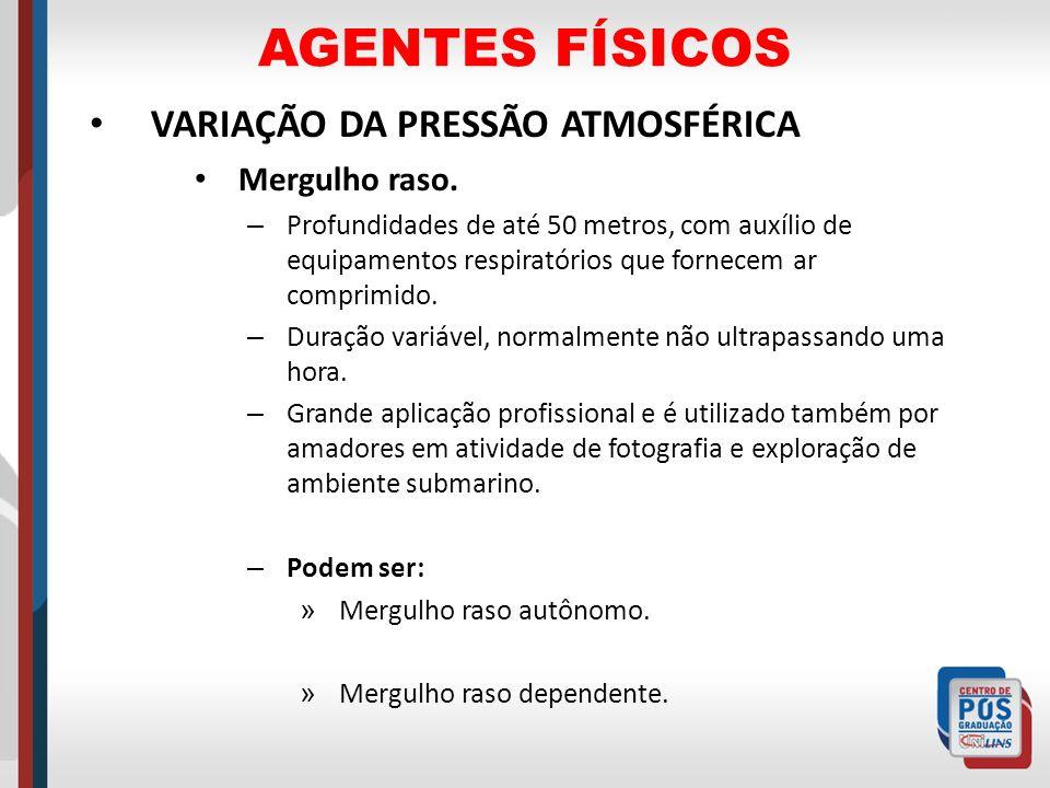 AGENTES FÍSICOS VARIAÇÃO DA PRESSÃO ATMOSFÉRICA Mergulho raso.