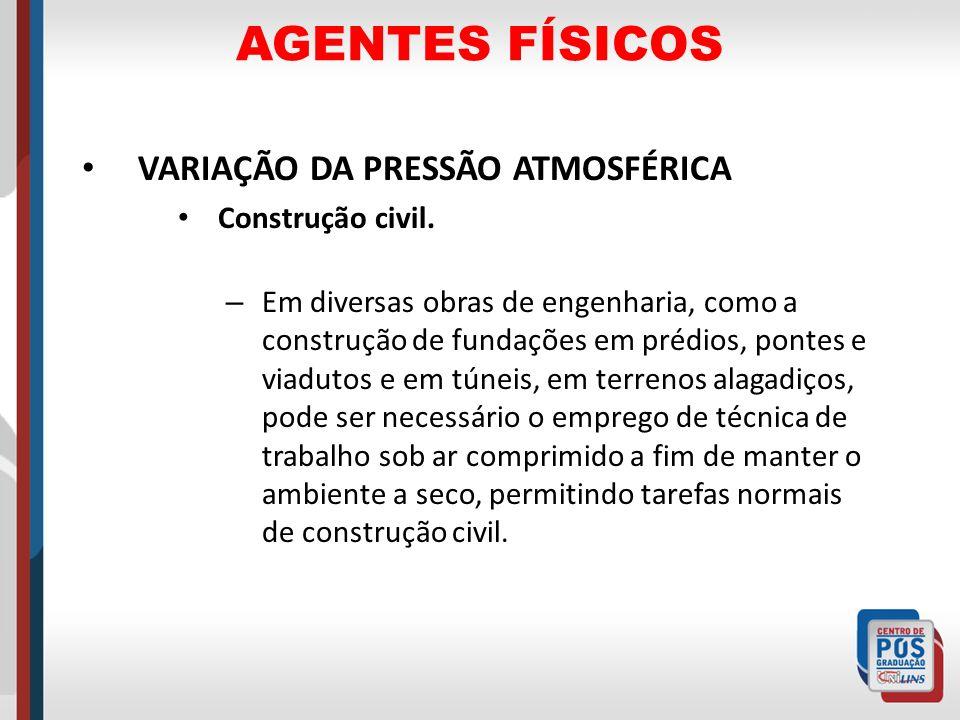 AGENTES FÍSICOS VARIAÇÃO DA PRESSÃO ATMOSFÉRICA Construção civil.