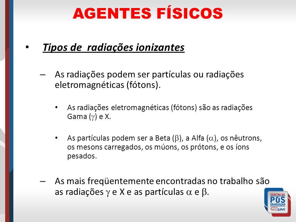 AGENTES FÍSICOS Tipos de radiações ionizantes