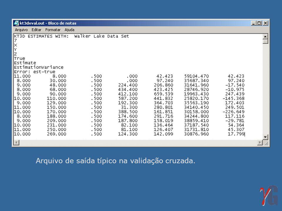 Arquivo de saída típico na validação cruzada.