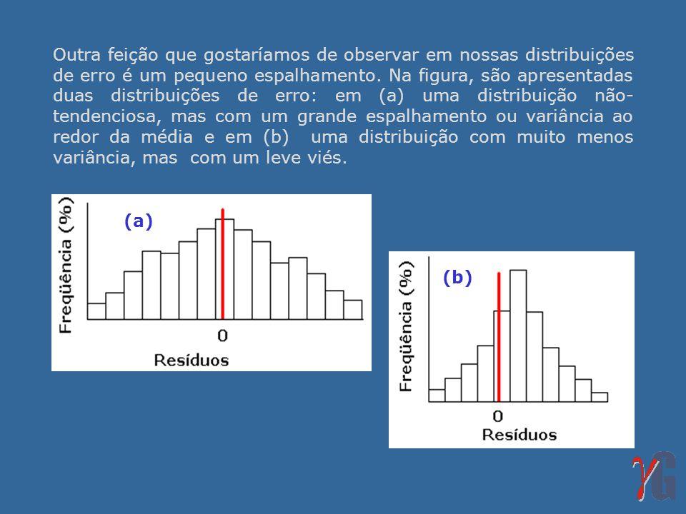 Outra feição que gostaríamos de observar em nossas distribuições de erro é um pequeno espalhamento. Na figura, são apresentadas duas distribuições de erro: em (a) uma distribuição não-tendenciosa, mas com um grande espalhamento ou variância ao redor da média e em (b) uma distribuição com muito menos variância, mas com um leve viés.