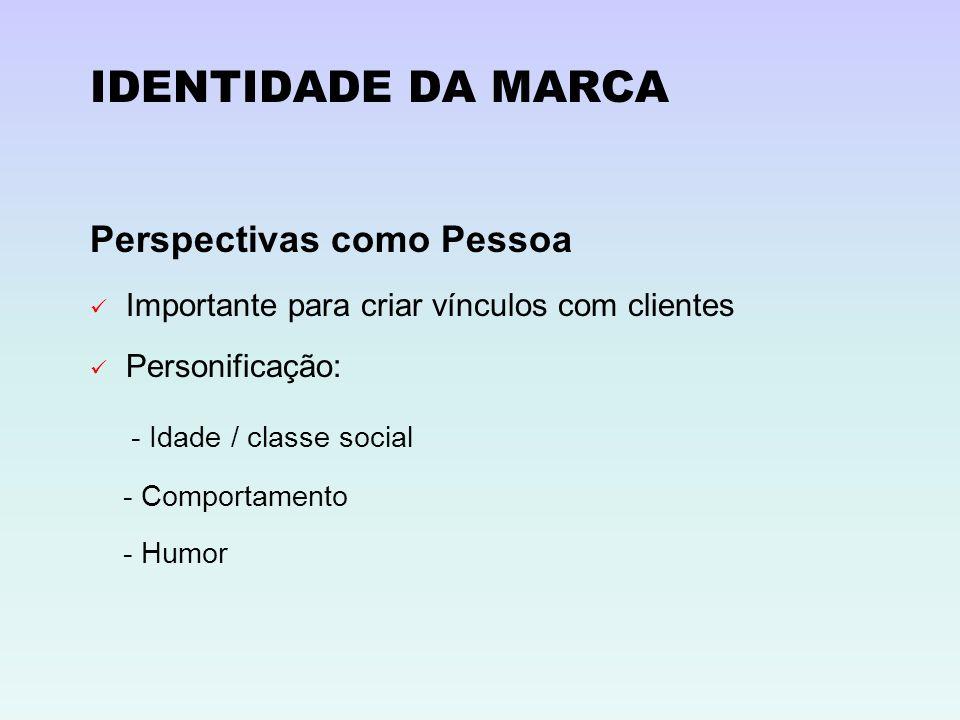 IDENTIDADE DA MARCA Perspectivas como Pessoa - Idade / classe social