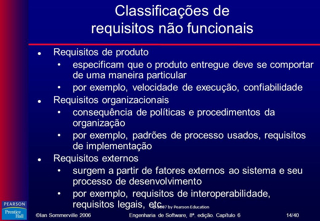 Classificações de requisitos não funcionais