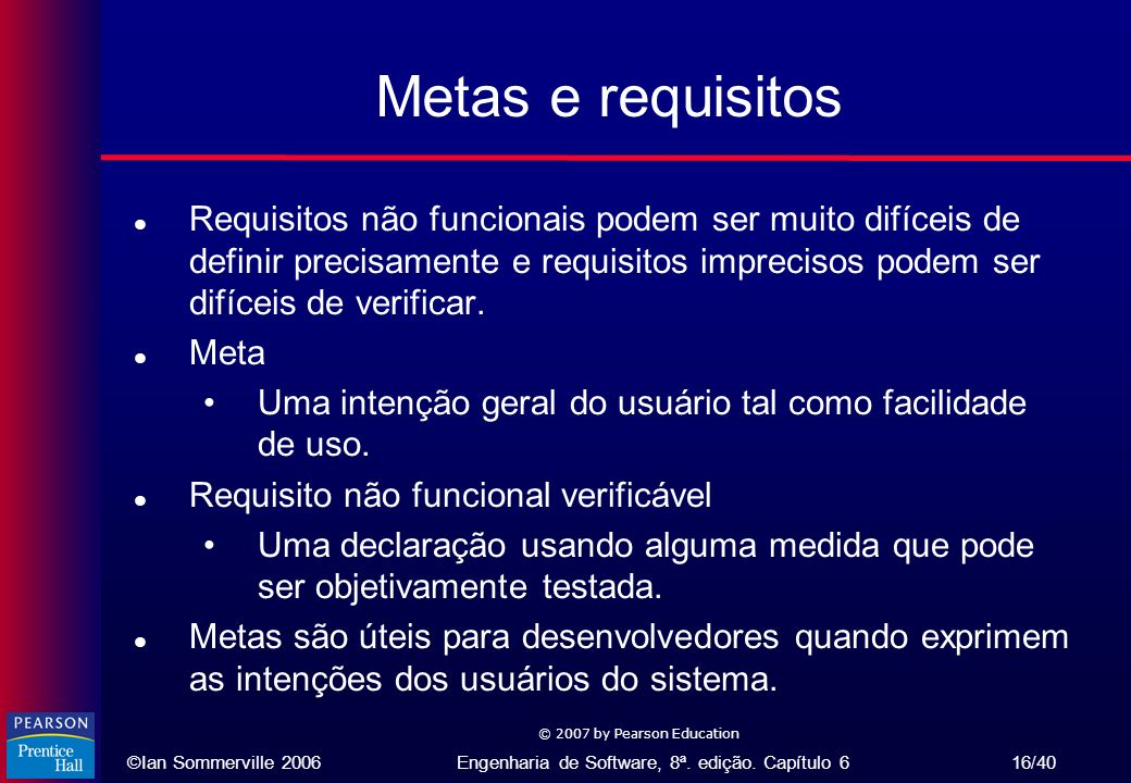 Metas e requisitos