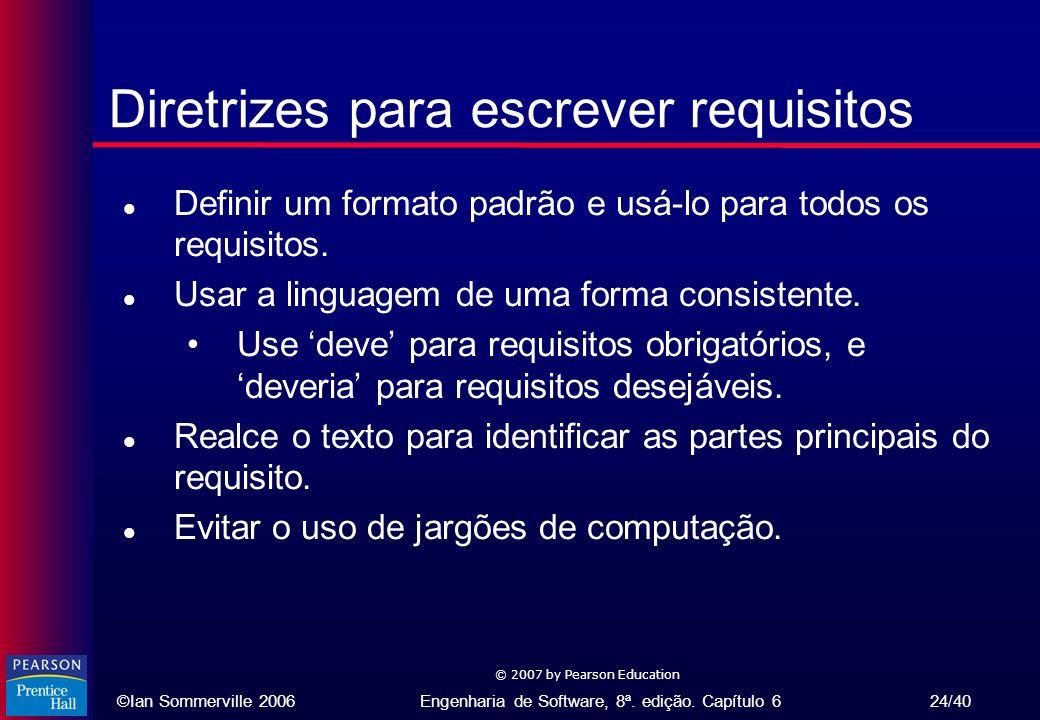 Diretrizes para escrever requisitos