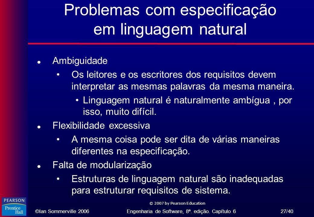 Problemas com especificação em linguagem natural